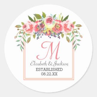 Wedding Monogram Peach Watercolor Floral Wreath Classic Round Sticker