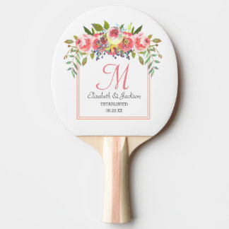 Wedding Monogram Peach Watercolor Floral Wreath Ping Pong Paddle