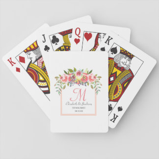 Wedding Monogram Peach Watercolor Floral Wreath Playing Cards