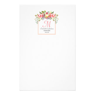 Wedding Monogram Peach Watercolor Floral Wreath Stationery
