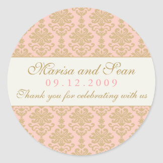 Wedding Monogram | Pink and Champagne Damask Classic Round Sticker