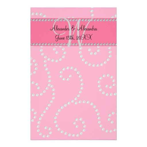 Wedding monogram pink diamond swirls stationery