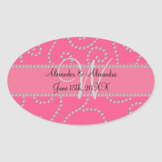 Wedding monogram pink diamond swirls stickers
