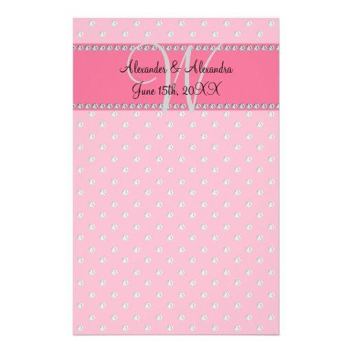 Wedding monogram pink diamonds stationery design