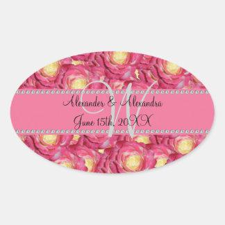 Wedding monogram pink roses stickers