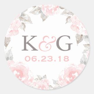 Wedding Monogram | Pink Watercolor Roses Classic Round Sticker