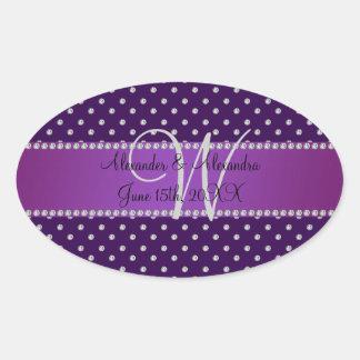 Wedding monogram purple diamonds oval stickers