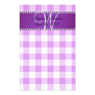 Wedding monogram purple gingham checkers customized stationery