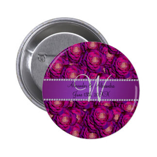 Wedding monogram purple roses pins