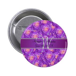 Wedding monogram purple roses buttons