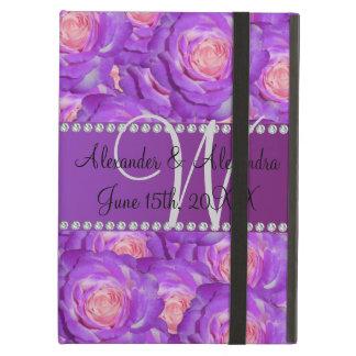 Wedding monogram purple roses case for iPad air