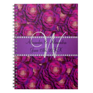 Wedding monogram purple roses notebooks