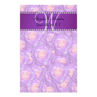 Wedding monogram purple roses custom stationery