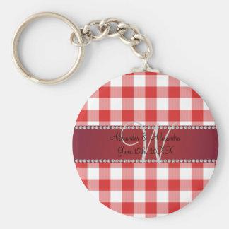 Wedding monogram red gingham checkers key chains