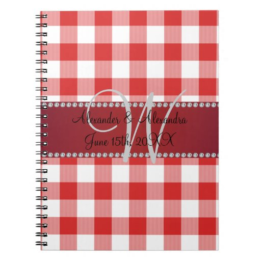 Wedding monogram red gingham checkers spiral note book