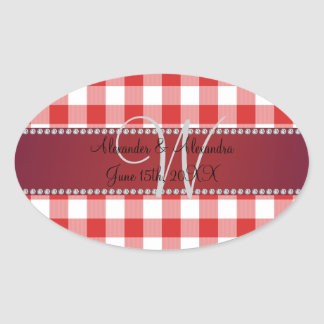 Wedding monogram red gingham checkers stickers