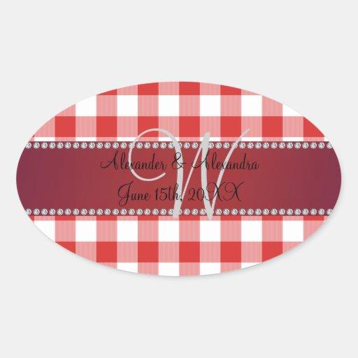 Wedding monogram red gingham checkers stickers