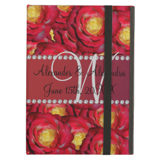 Wedding monogram red roses cover for iPad air