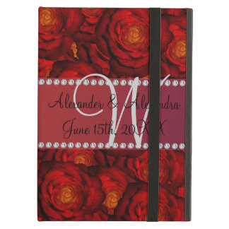 Wedding monogram red roses iPad air cases