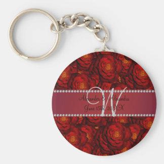 Wedding monogram red roses keychains