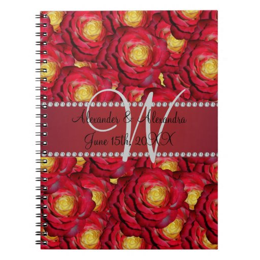 Wedding monogram red roses spiral note books