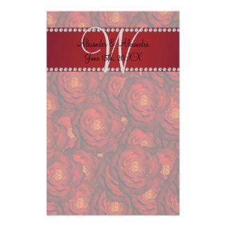 Wedding monogram red roses stationery paper