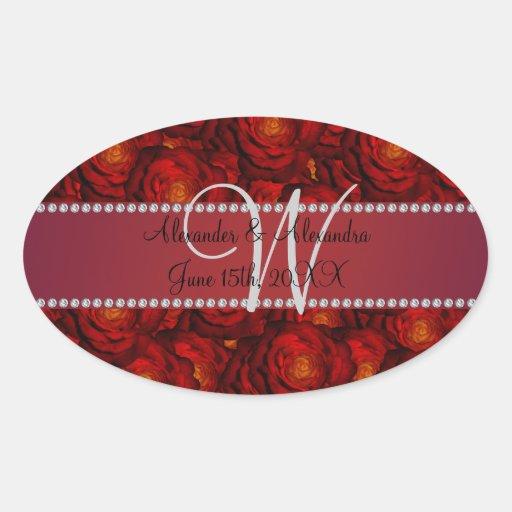 Wedding monogram red roses stickers