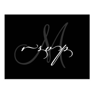 Wedding Monogram RSVP Postcard