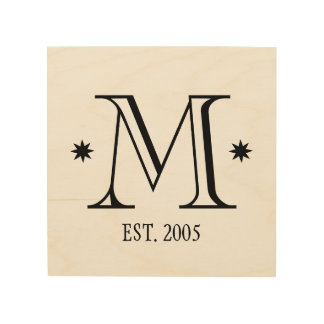 Wedding monogram rustic chic initial date wood wood canvas