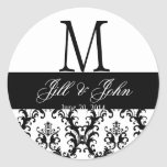 Wedding Monogram Save Date Damask Black and White Round Sticker