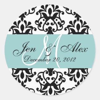 Wedding Monogram Save Date Damask Blue Seal Round Sticker