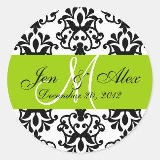 Wedding Monogram Save Date Damask Green Seal Classic Round Sticker