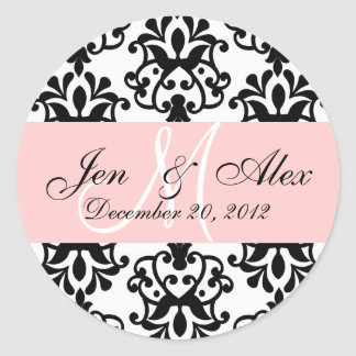 Wedding Monogram Save Date Damask Seal Round Sticker