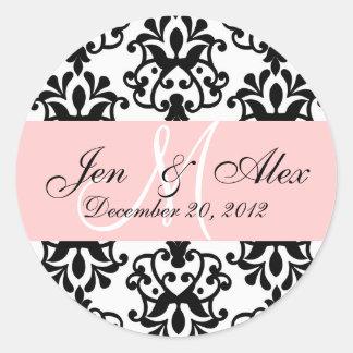 Wedding Monogram Save Date Damask Seal Stickers