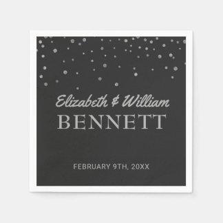 Wedding Monogram | Silver Glitter Confetti Dots Disposable Napkins