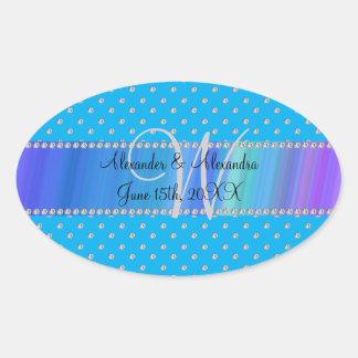 Wedding monogram sky blue diamonds oval sticker
