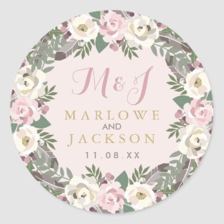 Wedding Monogram Stickers | Fall Boho Florals