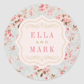 Wedding Monogram Stickers | Vintage Garden Party