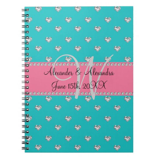 Wedding monogram turquoise diamonds hearts spiral note books