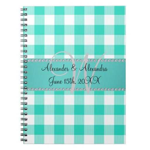 Wedding monogram turquoise gingham checkers notebook