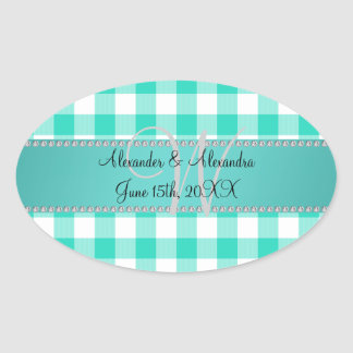 Wedding monogram turquoise gingham checkers oval sticker