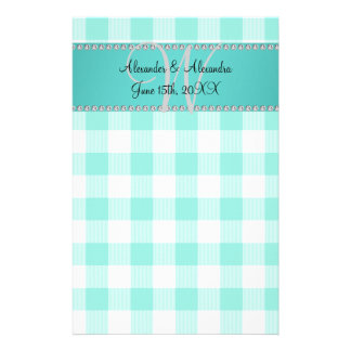 Wedding monogram turquoise gingham checkers stationery paper