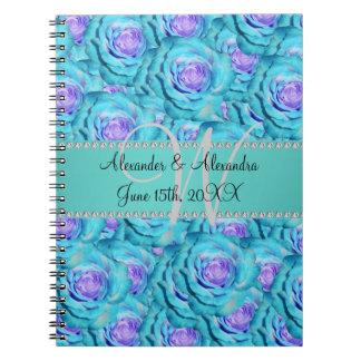 Wedding monogram turquoise roses journal