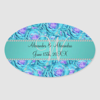 Wedding monogram turquoise roses oval stickers