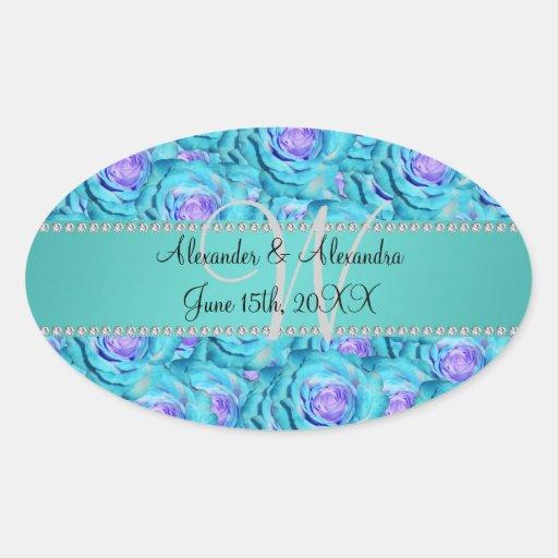 Wedding monogram turquoise roses oval stickers