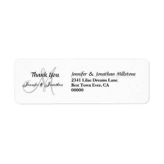 Wedding Monogram Wedding Thank You Return Address Label