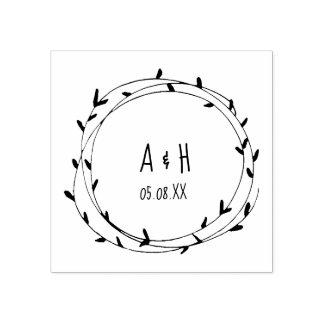 Wedding Monogram Wreath Handwritten Rubber Stamp