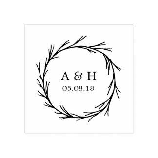 Wedding Monogram Wreath Rubber Stamp