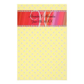 Wedding monogram yellow diamonds stationery design