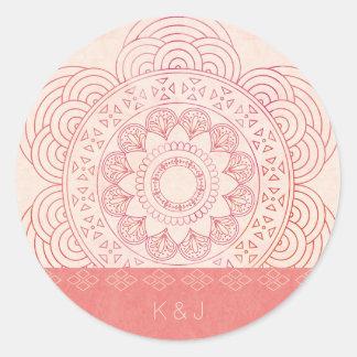 Wedding Monograms Boho Chic Mandala Design Round Sticker